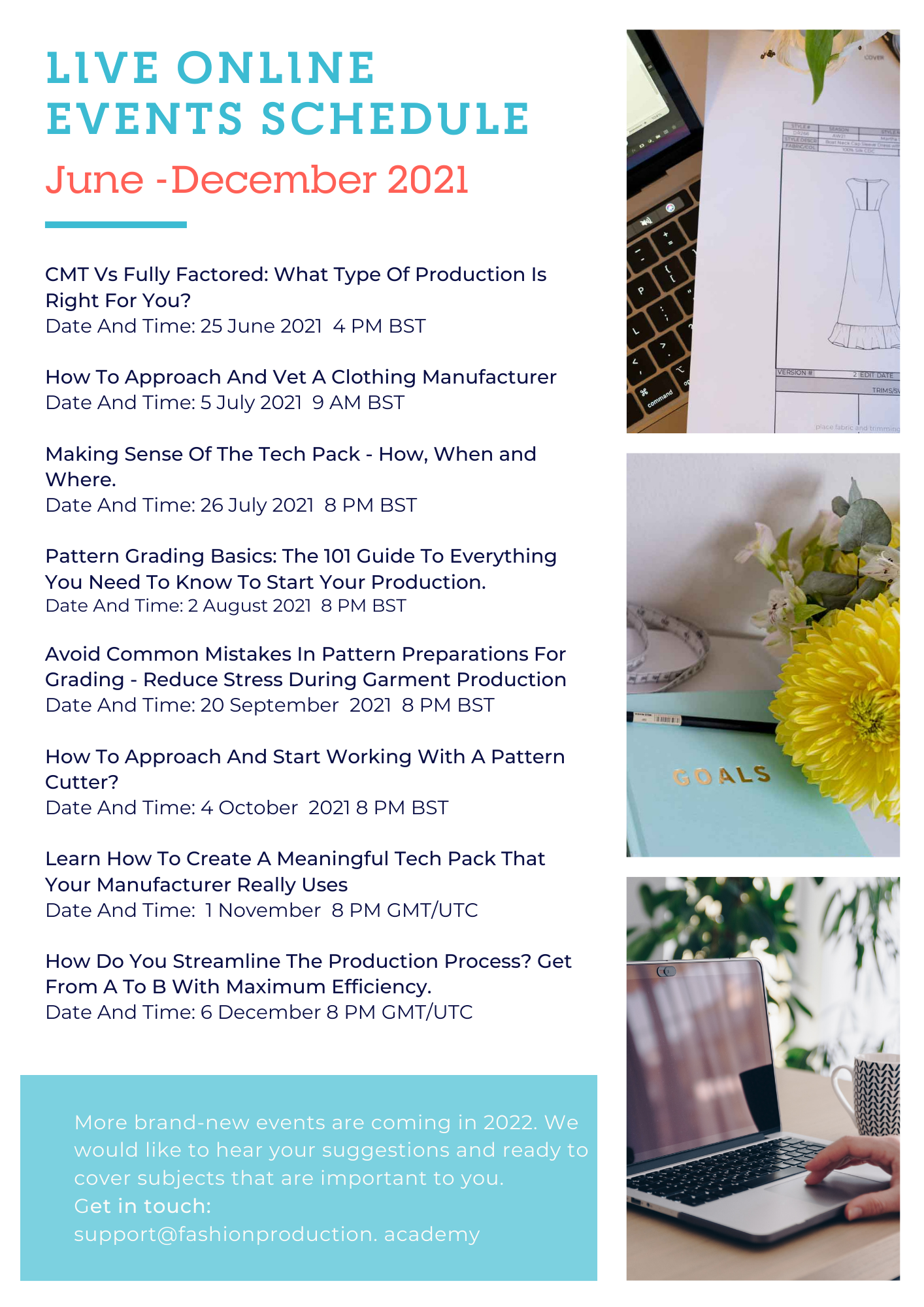 Fashion Production Academy Online Live Events 2021